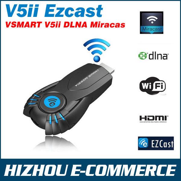 Novo VSMART V5ii TV vara Ezcast DLNA Miracast airpaly TV dongle para o iphone 5 5S android telefone inteligente melhor do que chromecast mk808(China (Mainland))