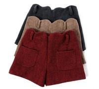 2015 Autumn Winter New Women Shorts Thick Woolen Turn-Up Straight Bootcut Short Pants High Waist