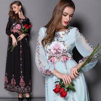 Best Quality!New Hot Sale 2015 Spring Women Vintage Retro Flower Print Long Sleeve Maxi Dress Celebrity Inspired Long Dress XL