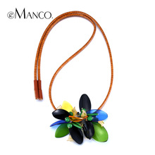 Green acrylic necklace new 2015 spring summer new womens eManco fashion leather cord jewelry necklace necklaces