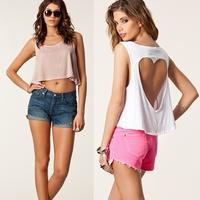 women fashion tee shirt women summer tops,heart-shaped hole backless white black crop top loose tops,cc shirt,blusa feminina