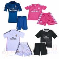 Thai quality 2015 Real Madrid Boys Sets Children Shirt+Short 14 15 Kids Kits Soccer Jersey Pink Black Home Away 7 KROOS 10 JAMES