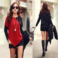 Fashion Women Batwing Patchwork Blouse Winter V Collar Long Bottom Blouse Shirts Red Apricot Size M L KH852493