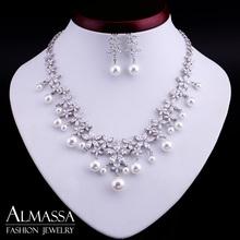 New Arrival Luxury Women Jewelry Set Marquise Zircon Flower Hang Shell Pearl Wedding Jewelry Set