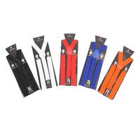 Polyester 8 Colors Suspenders Women`s Men`s Unisex Clip-on Braces Y- black Elastic Suspenders Belt