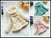 Fashion Children's baby girls Outerwear Faux Fur Warm lace Girls Coats & Jackets For Autumn Winter