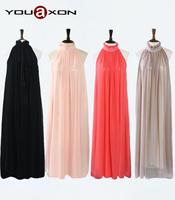 1313 YouAxon Ladies Plus Size Fashion Summer Elegant Chiffon Maxi Long Halter Neck Evening Party Boho Dresses For Women a+ Dress