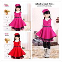 Flower Girl Dress Princess Winter For Weddings Baby Girl Dresses 2014 High Quality Woolen Dresses Free Hat Free Shipping DA587
