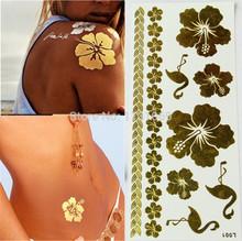 Sex Products Tatoos Flower Gold Metallic Temporary Flash Tattoos Henna Metal Bling Tatouage Body Paint Stickers Tatuagem Taty