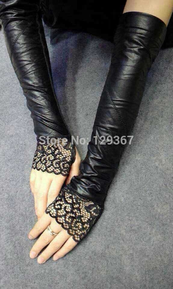 Sexy women's PU leather semi-finger ultra long gloves fingerless gloves sleeves female black color lace glove 41cm length(China (Mainland))