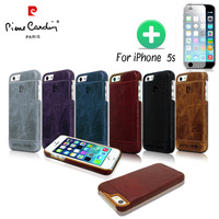 Brand Pierre Cardin Genuine Leather Cover Hard Back Case For iPhone 5S + Film