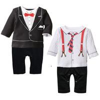 3pc/lot 75cm-95cm baby 2015 new boys clothing tie climb suits bodysuit wholesale 660