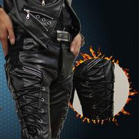 Mens faux leather pants zipper design pu trouser Lederhosen boys pants Slim men's casual pants trend of men's leather pants