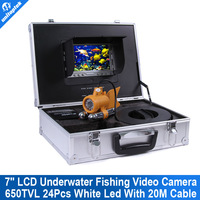 """7"""" TFT LCD Fishing Camera Kit Fish Finder HD SONY 650TVL CCD Underwater Video Camera System With Night Vision 20m Cable"""