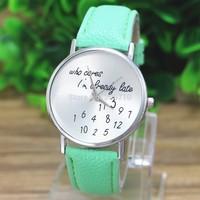 2015 Sale New Who Cares I'm Already Late Irregular Figure Quality Women Wristwatch Fashion Girl Boy Watches Relogio Quartz Watch