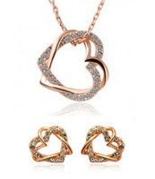 Fashion 18K gold  Loverly Cute plated double heart stud earring/necklace pendant Jewelry set