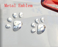 1 Pair,Silvery Dog paw Metal Emblem Badge for car, blister packing, Free shipping Global