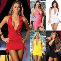 Women Sexy Deep V-neck Dress Club Nightclub Work Clothes Party Packet Hip Dress