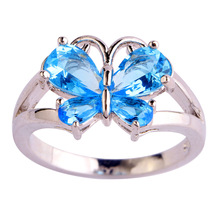 Free Shipping Wholesale New Jewelry Pear Cut Shiny Blue Topaz 925 Silver Ring Size 6 7 8 9 10 11 Beautiful Butterfly For Women's
