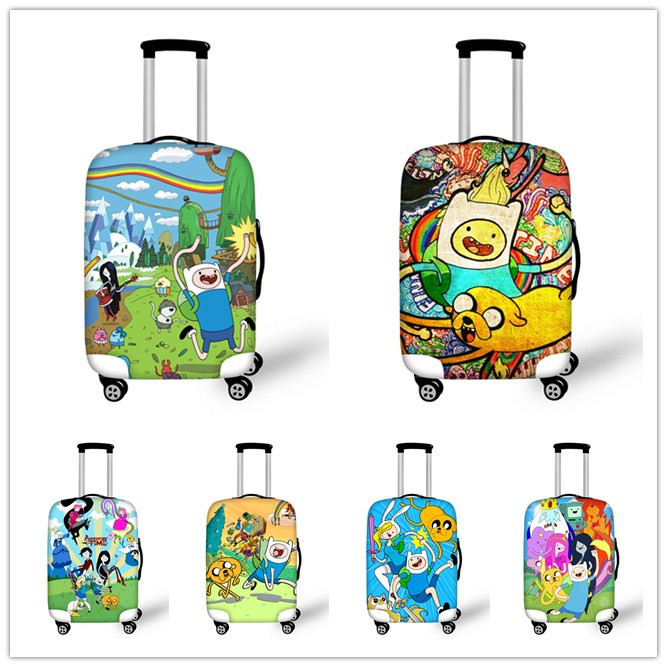 3D Cartoon Adventure Time Luggage Protective Covers Cute Finn and Jake Travel Rain Elastic Suitcase Cover For 18-30 Inch Case(China (Mainland))