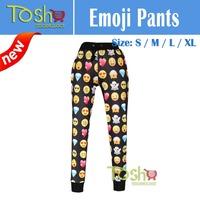 2015 Emoji Joggers Pants Cartoon 3D Sweatpants Black & White Jogging Trousers Sportwear Men/Women Clothes Outfit Free Shipping