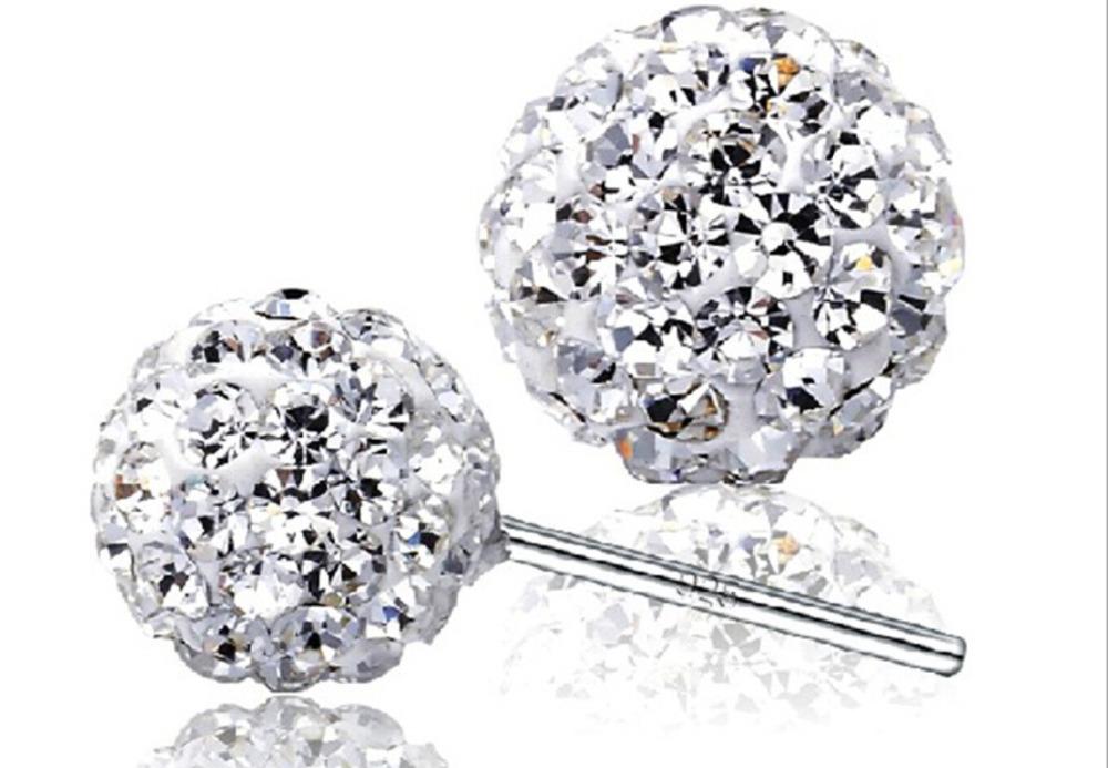 Hot Sale Super flash CZ diamond 925 Sterling Silver Earrings Shambhala Ball Ornaments Fully-jewelled Stud Earrings Free Shipping(China (Mainland))