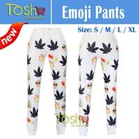2015 3d Print Emoji Joggers Pants Leaves Casual Pants Women Men Casual Sport Loose Cute Cartoon Free Shipping