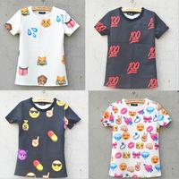 S-XL Free ship 2015 New 3D print women's emoji t shirts cotton short t shirt fashion print emoji sport t-shirts Tops short Tees