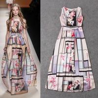 Fashion women's 2015 runway digital flower geometry print sleeveless high quality satin boutique summer dress free shipping