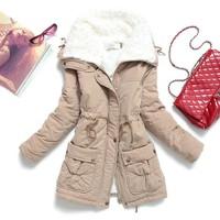 fashion wool liner adjustable waist plus size coat womens parka jackets,warm thick slim ladies winter coat,abirgos mujer parka