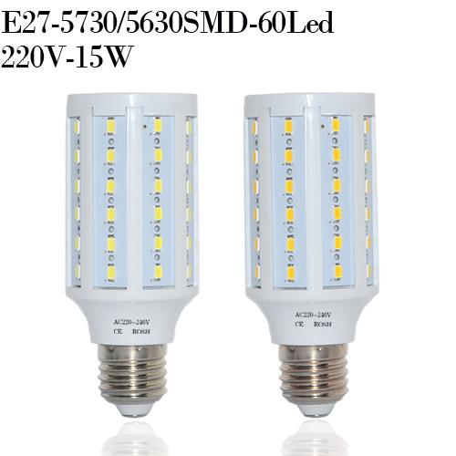 Hot Sale 220V 240V 360 Degree Super Bright 60Leds SMD5730 15W LED Bulb E27 2400lm Corn Bulbs Light Led Lamps, B2760(China (Mainland))