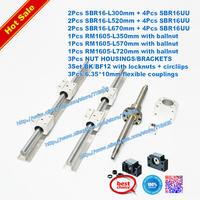 3 ballscrews + 3 SBR supported rails +3 BK/BF12+couplers RM1605-350/570/720mm SBR16-300/520/670mm