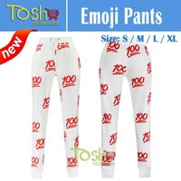 2015 Print 100 Emoji Joggers Pants and Sweater Hoodies Clothing Women/Men/Unisex Sweatpant Trousers Cartoon Outfit Free Shipping