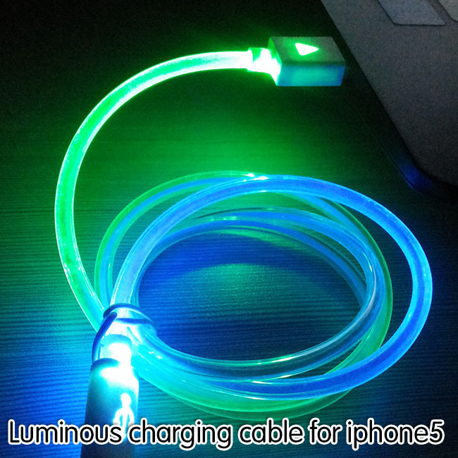 Newest Visible Flashing LED Bright 8 Pin to USB Charging Charger Data Cable Cords For iPhone 5/5S/5C/6/6 plus/ipad mini/ipad 4