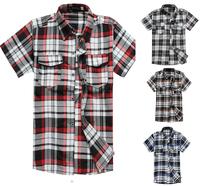 TUSDMS007 2015  new arrival slim fit casual shirt men ,fashional short sleeve plaid men shirts ,free shipping