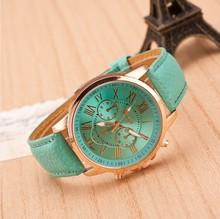 New 2014 Women Dress Watche Fashion Bracelet Geneva Roman Numerals Genuine Leather Analog Quartz Wristwatch Casual Watch Relogio