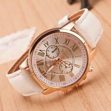 New 2014 Women Dress Watche Fashion Bracelet Geneva Roman Numerals Genuine Leather Analog Quartz Wristwatch Casual