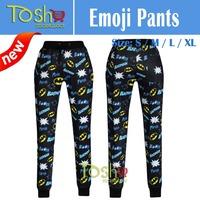 2015 3D Print  Emoji Joggers Pants Smile Face Pants Women Men Casual Sport  Loose Cute Cartoon Sweatpants Free Shipping
