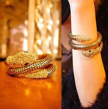 Hiphop Steampunk Personalized snake cuff bracelets bangles/korean luxury strass pulsera mujer/pulseiras femininas/brazalete/gift
