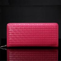 2015 New Fashion Women Wallet Knitting Grain Long Paragraph Genuine Leather Wallets Hot Natural Leather Clutch Bag Women Handbag