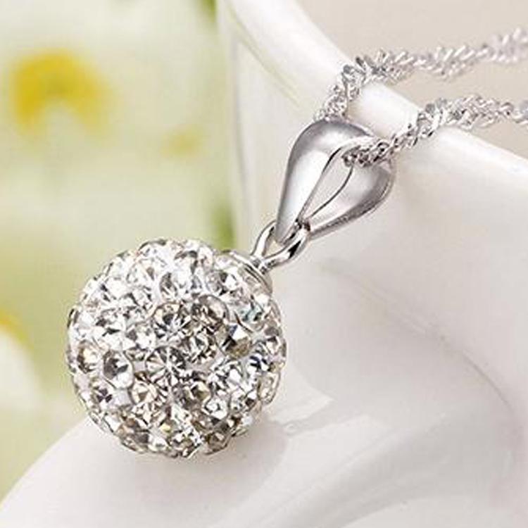 Quartz Crystal Ball Min Order 5 Quartz Crystal Ball Raw Austrian Crystal Necklace Pendant 925