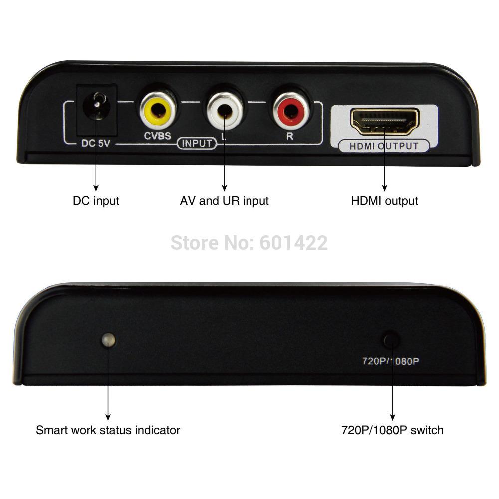 HDMI AV to HDMI Converter AV CVBS 3RCA HDMI HD 1080p Upscaler HDCV0082