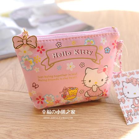 000 HELLO KITTY cartoon cute purse coin bag lady flowers Free shipping(China (Mainland))