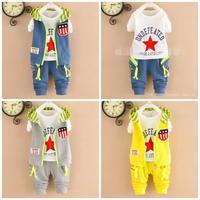 4set/lot baby sets 3pcs vest+shirts+pants kids sets cotton children clothing factory 758