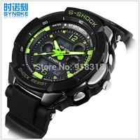 Free Shipping Dual Movement Men wristwatch Sports Watch SYNOKE Swimming 50M Waterproof Digital watches LED Alarm Week Date