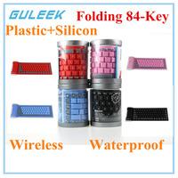 GLK-2.4GHz Waterproof Silicone Bluetooth 3.0 Flexible Folding 84-Key Wireless Keyboard for PC Laptop