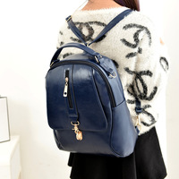 New design girls's bag fashion trend PU casual bag student school backpack retro leather shoulder bags