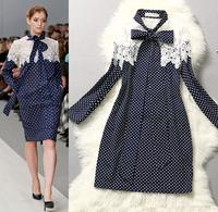 2015 Spring Runway Designer Career Office Dress Women's Noble Long Sleeves Bow Embroidery Crochet Polka Dot Printed Dress