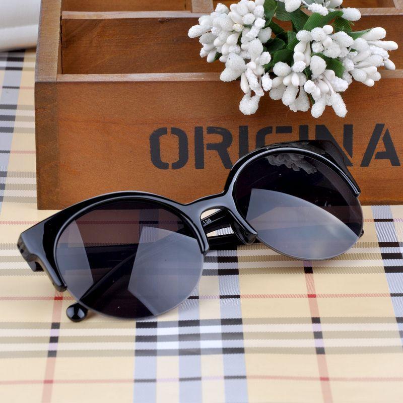 New Arrive Hot Fashion Retro Cat Eye Semi Rim Round Sunglasses for Unisex Men Women Eyewear