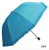 Top quality 3-folding Women Umbrella, Princess Lace Sunshade and Rainy Sunny Umbrellas for Holiday Gift